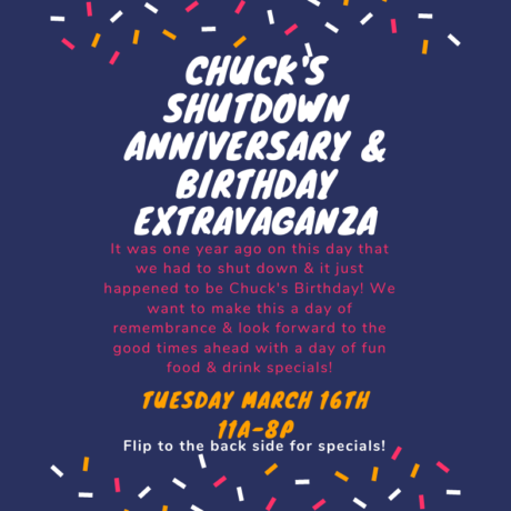 Chuck's Shutdown Anniversary & Birthday Extravaganza