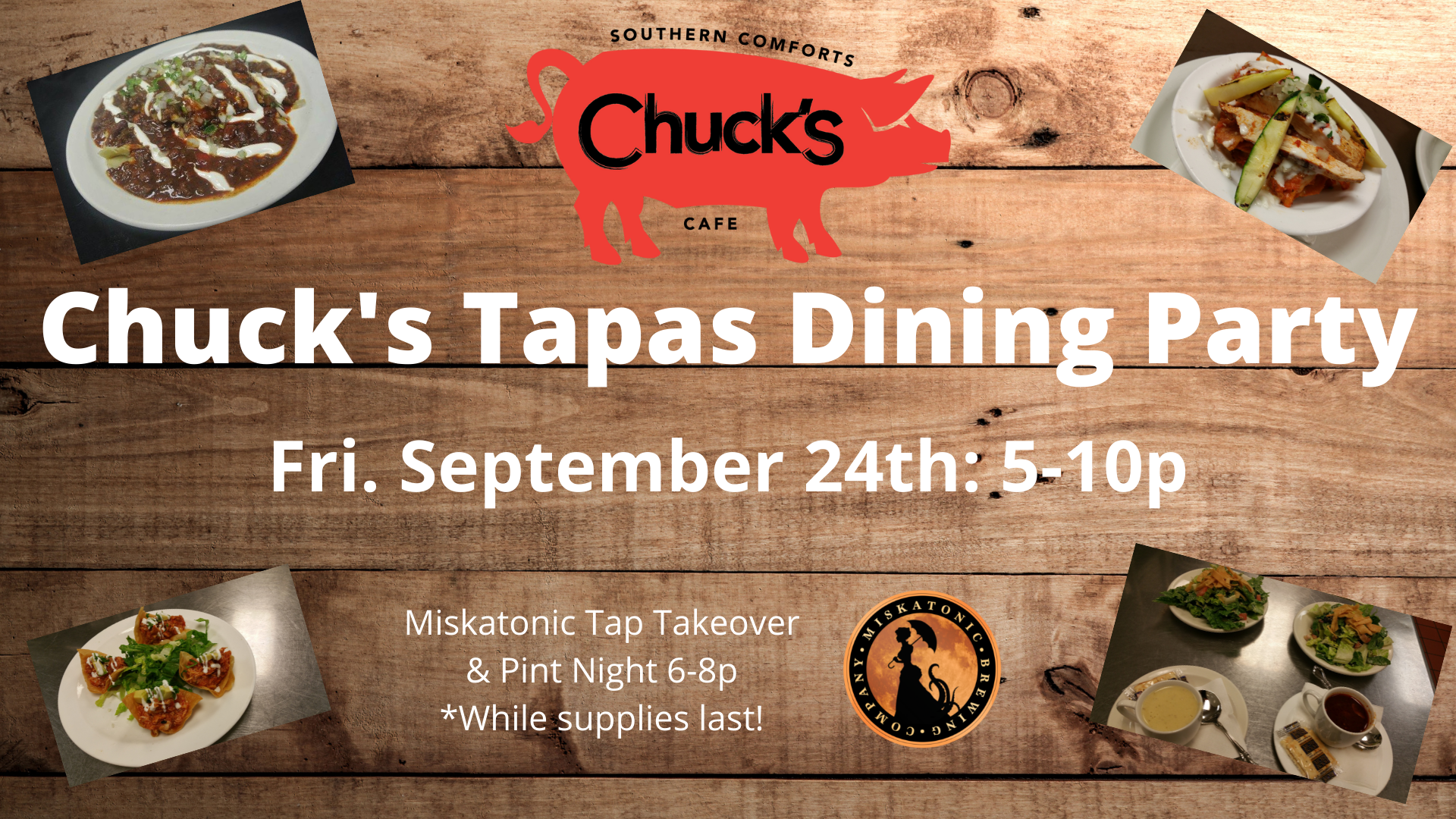 Chuck's Tapas Dining Party & Miskatonic Tap Takeover