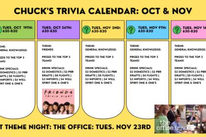 Tuesday Night Trivia at Chuck's!